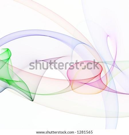 colored smoke on white - stock photo