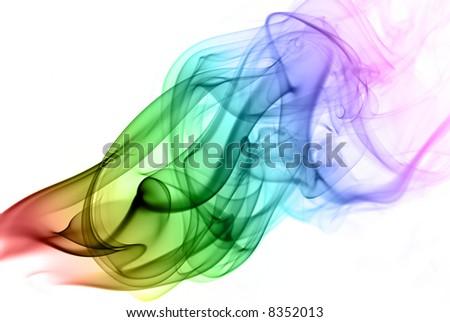 Colored smoke on white background - stock photo