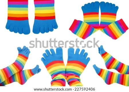 colored socks  - stock photo