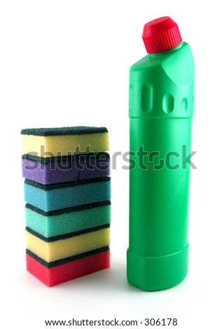 colored sponges and bottle of detergent - stock photo