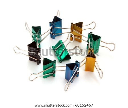 Colored staples isolated on a white background. - stock photo
