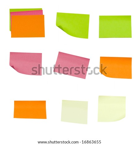 colored sticky notes isolated on a white background - stock photo