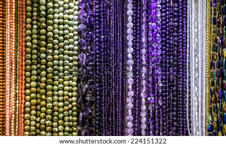 colored stone beads necklace jewelry collection, Turkish factory - stock photo