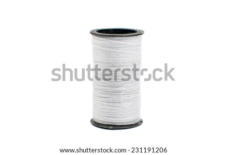 colored threads on a white background - stock photo