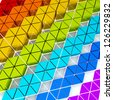 colored triangle shapes extruded to different high - stock photo