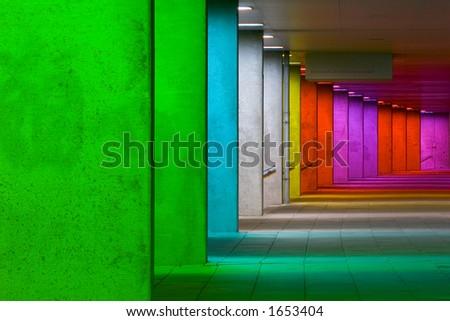 colored tunnel - stock photo