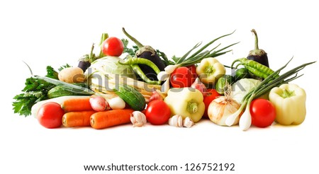 colored vegetables composition isolated on white background - stock photo