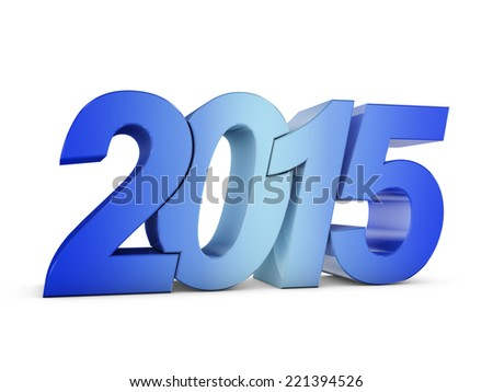 "colored volumetric inscription: ""2015"" on a white background"