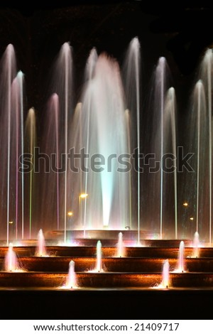 colored water fountain - stock photo