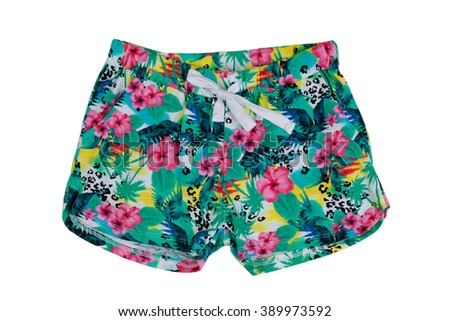 Colored women's shorts with a pattern. Isolate on white. - stock photo