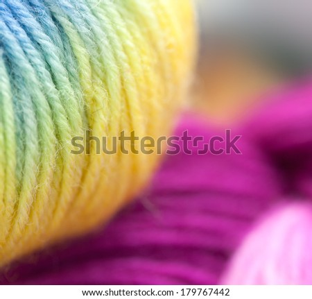 Colored wool knitting yarns - stock photo