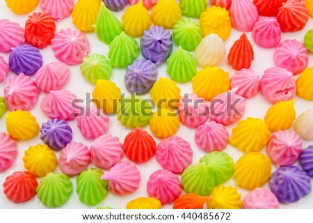 Colorful Aalaw candy, Thai dessert, - stock photo