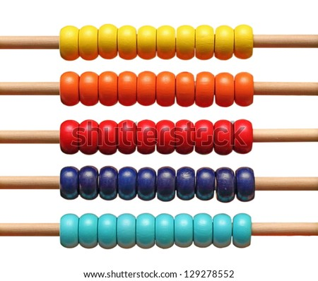 colorful abacus detail isolated over white background - stock photo