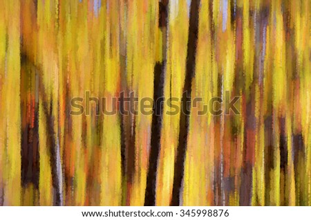 Colorful abstract autumn woods transformed into a vibrant pointillism style painting