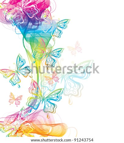 Colorful abstract background with butterfly and wave