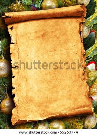Colorful abstract background with Christmas lights and paper scroll. - stock photo