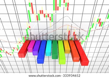 Colorful abstract bar graph with candlestick background