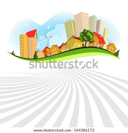 Colorful abstract city. Summer - stock photo