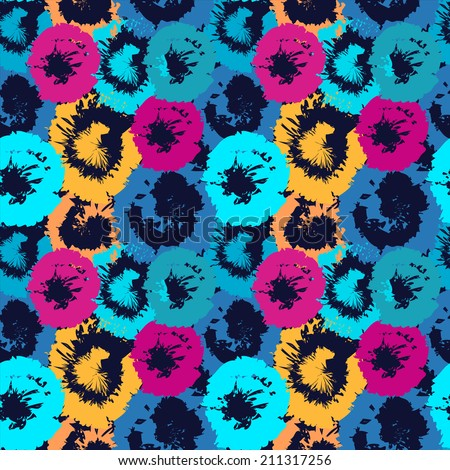 Colorful abstract decorative seamless pattern with flowers. Art grunge ornament. Summer. Batik. Paint stains. Rainbow background. Distressed. Fabric, textile design. Print texture - raster version   - stock photo