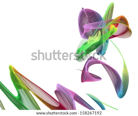 colorful abstract flower on a white background - stock photo