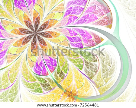 Colorful abstract fractal butterfly - flower design