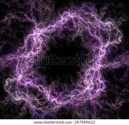 Colorful abstract fractal on a pure black background. - stock photo