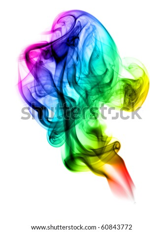 Colorful Abstract fume waves pattern over white background - stock photo