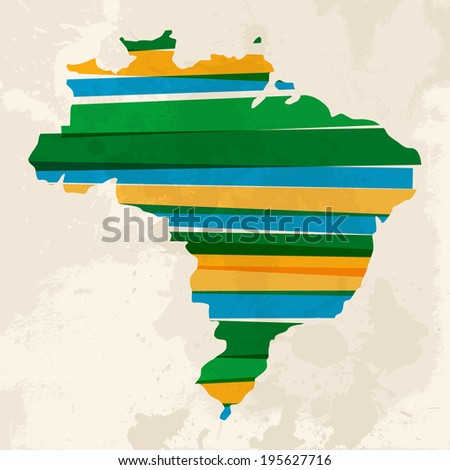 Colorful abstract grunge Brazil map with transparent bands. - stock photo