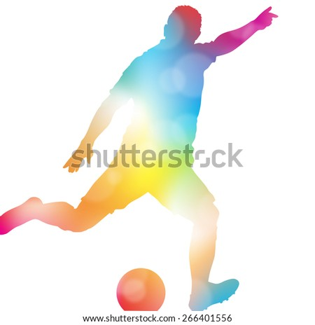 Colorful abstract illustration of a Soccer Player setting up to score a wonder strikers Goal in a Football match through a haze of summer blurs.