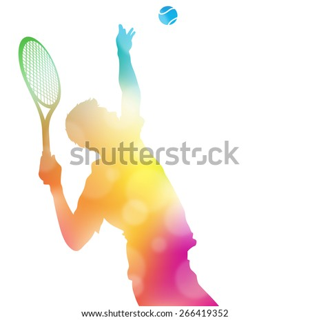 Colorful abstract illustration of a Tennis Player serving high to hit an Ace in this Championship match through a haze of summer blurs. - stock photo