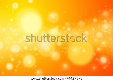 Colorful abstract image - yellow orange circles or spheres representing concentrations of energy bubbles. Artistic rendering of a concentrated star nursery or galaxy disk of stars. - stock photo