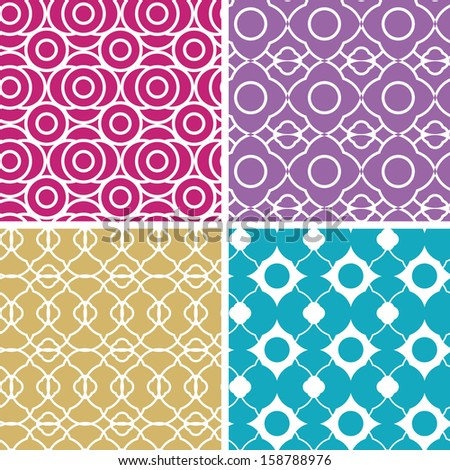 Colorful abstract line art geometric seamless patterns set raster - stock photo