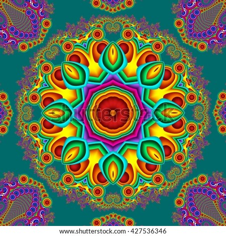 Colorful abstract mandala background. You can use it for invitations, notebook covers, phone case, postcards, cards, ceramics, carpets and so on. Artwork for creative design, art and entertainment. - stock photo