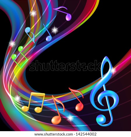 Colorful abstract notes music background. - stock photo