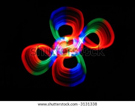 colorful abstract ornament on a black background - stock photo
