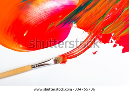 Colorful abstract paint and brush isolated - stock photo