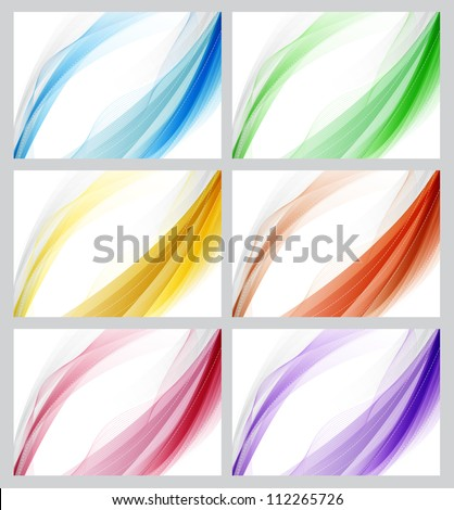 Colorful abstract smooth backgrounds set - raster version