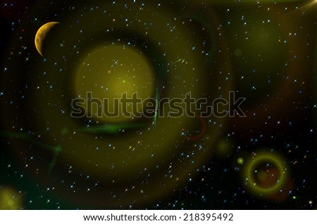 Colorful abstract space background with the moon and stars in the night sky. Can be used as wallpaper.