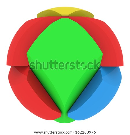 Colorful abstract sphere consisting of puzzles. Isolated render on a white background - stock photo