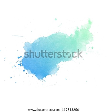 Colorful Abstract watercolor art hand paint on white background - stock photo