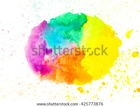 Colorful abstract watercolor rainbow color background texture
