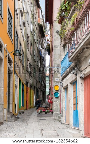 colorful alley in Porto, Portugal - stock photo