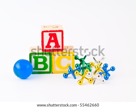 Colorful Alphabet Blocks ABC and Jacks as a Childrens Theme - stock photo