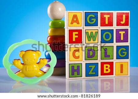Colorful alphabet blocks, baby - stock photo