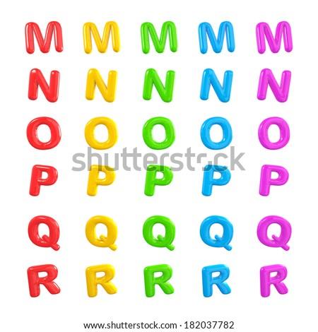 Colorful Alphabet 3D Ballons M-R - stock photo