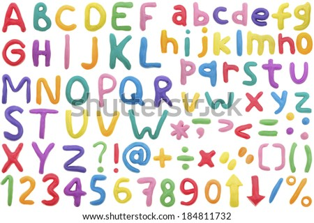 Colorful Alphabet made from plasticine,isolated on white. - stock photo