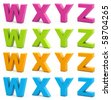 Colorful alphabet. Set of 3d letters isolated on white. Part 6 of 6. - stock photo