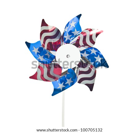 colorful american flag windmill - stock photo