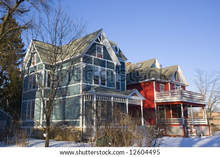 Colorful American Houses - suburbs of Chicago. - stock photo