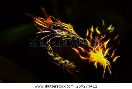 colorful ancient dragon statue holding a sparkling ball of light fractal effect - stock photo